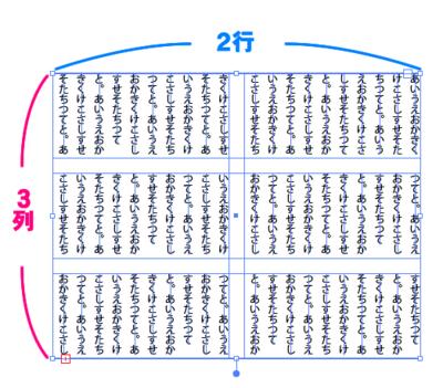 3列2行の段組み