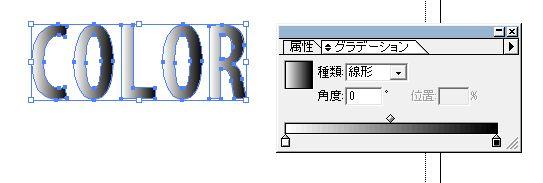アウトライン化した文字にグラデーションをかける