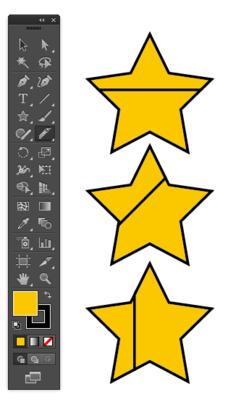 ナイフツールで45度ごとに直線に分ける