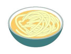 器に入った麺と汁のイラスト