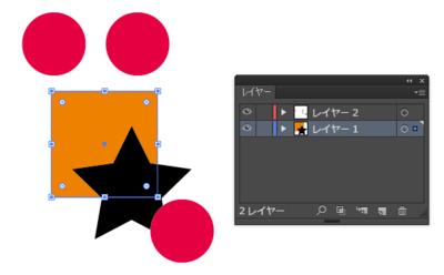 オレンジ色の四角を選択時のレイヤーパレット