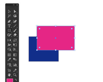 青色の長方形の前面にピンクの長方形