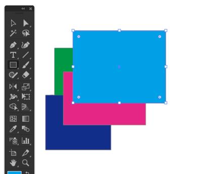 水色の長方形を作成