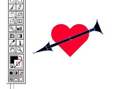 矢のイラストをナイフツールで切る