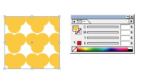カラーパレットの塗りにも模様が表示される