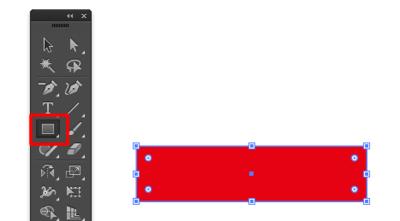 長方形ツールで赤い長方形を作成
