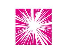 ピンクの正方形が型抜きされた