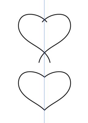 鉛筆ツールで描いた歪んだハートと左右対称のハート
