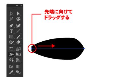 逆側の線幅ポイントをドラッグ