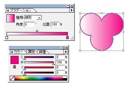 グラデーションを調整してピンクと白にする